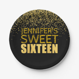 Faux Gold Glitter Sweet 16 Party Paper Plates
