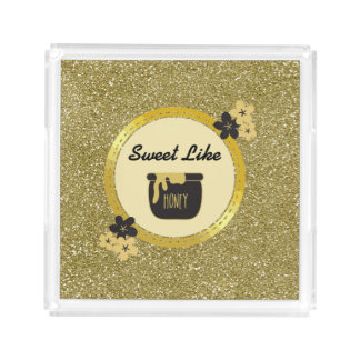 Faux Gold Glitter Sweet Like Honey Acrylic Tray