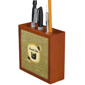 Faux Gold Glitter Sweet Like Honey Desk Organizer