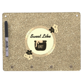 Faux Gold Glitter Sweet Like Honey Dry Erase Board With Keychain Holder