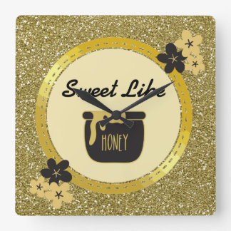 Faux Gold Glitter Sweet Like Honey Square Wall Clock