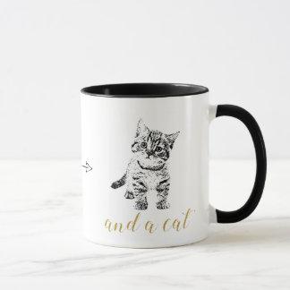 Faux gold glitter text black cat mug