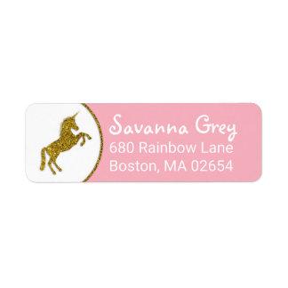 Faux Gold Glitter Unicorn Address
