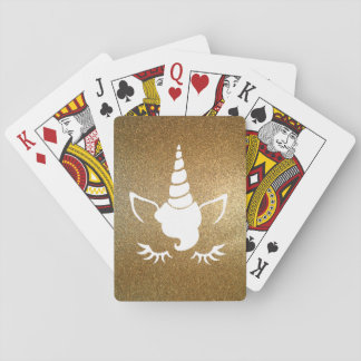 Faux Gold Glitter Unicorn Playing Cards
