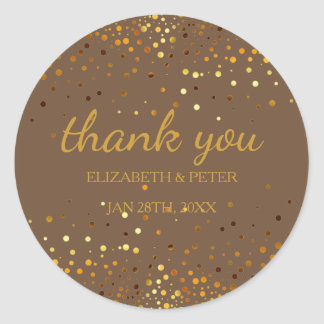 Faux Gold Glitter Wedding Thank You Classic Round Sticker
