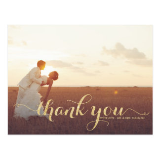 Faux Gold Glitter Wedding Thank You Postcard