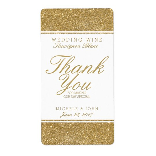 Faux Gold Glitter Wedding Wine Custom Label Shipping Label