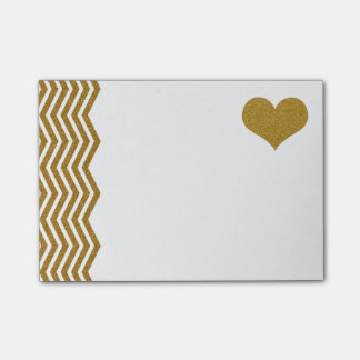 FAUX Gold Glitter Zigzag And Heart (printed flat) Post-it Notes
