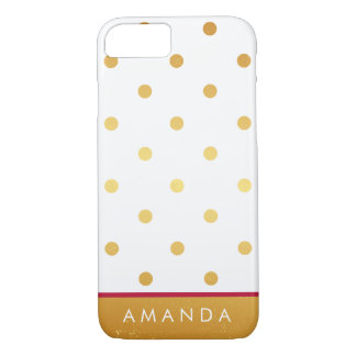 Faux gold Gold polka dots hot pink line your name iPhone 7 Case