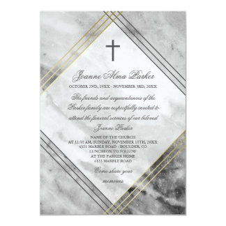 Faux Gold Grey Marble & Cross Funeral Service Card