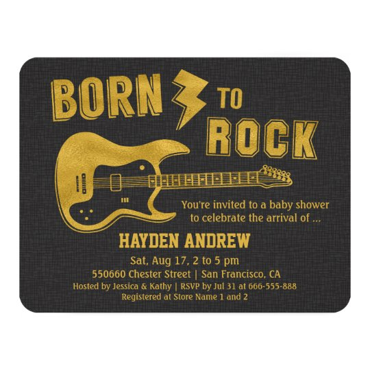 Faux Gold Guitar Rockstar Baby Shower invitations