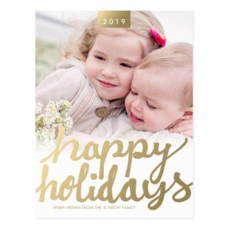 Faux Gold Happy Holidays Photo Modern Postcard