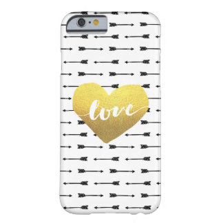 Faux Gold Heart & Arrow Pattern Love | Barely There iPhone 6 Case