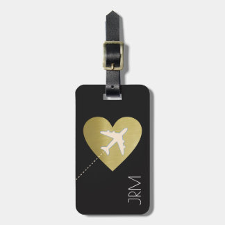 faux gold heart, love airplane travel bag tag