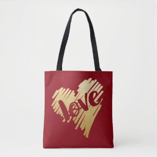 Faux Gold Heart Love Deep Red Tote Bag