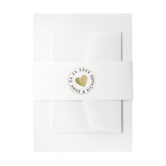 faux gold heart love wedding white invitation belly band