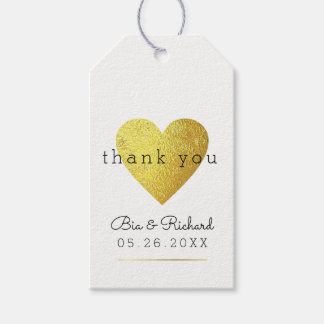 faux gold heart of love, thank you wed gift tags