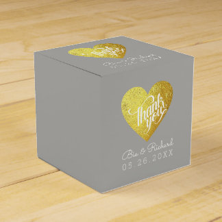 faux gold heart of love, 'thank you' wedding favor box