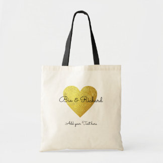 faux gold heart of love wedding tote bag