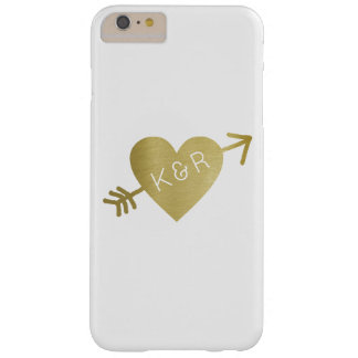 faux gold heart of love with initials, romantic barely there iPhone 6 plus case