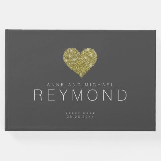 faux gold heart on dark gray wedding guest book