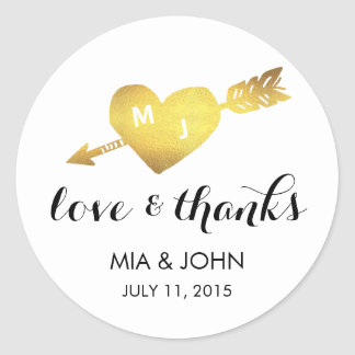 Faux Gold Heart Thank You Monogram Wedding Favor Round Sticker