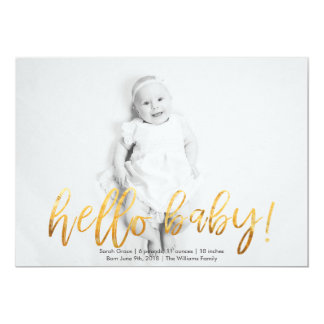 Faux Gold Hello Baby! Photo Birth Announcement