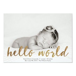 Faux Gold Hello World Photo Birth Announcement