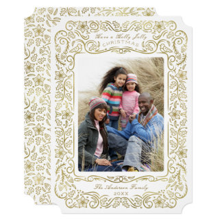 Faux Gold Holly Holiday Christmas Photo Card