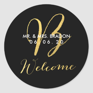 Faux Gold Initial B | Wedding Welcome Sticker