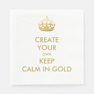 Faux Gold Keep Calm and Carry On 50th Wedding Paper Napkin