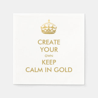 Faux Gold Keep Calm and Carry On Wedding Party Paper Napkins