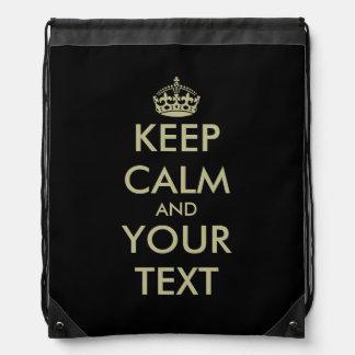 Faux gold Keep Calm drawstring backpack bag