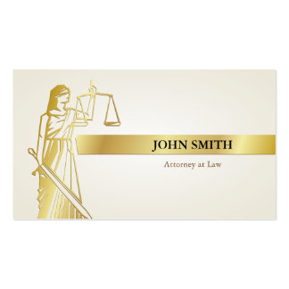 Faux Gold Lady Justice Professional Attorney Business Card
