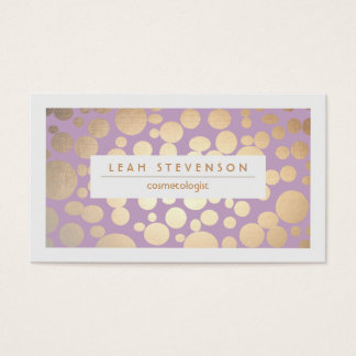 Faux Gold Leaf Cosmetologist Purple Stylist Business Card