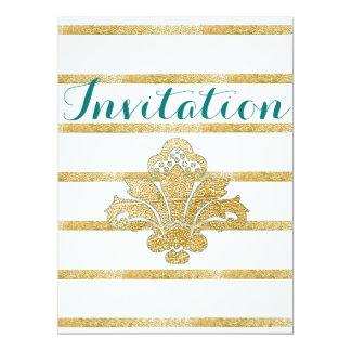 Faux Gold Leaf Damask Engagement Invitation Teal