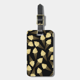 Faux Gold Leaf  Ice Cream Cones on Black Luggage Tag