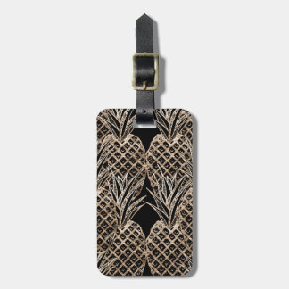 Faux Gold Leaf Pineapple Collage Luggage Tag