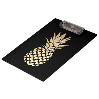 faux gold leaf pineapple on black clipboard