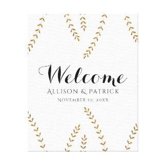 Faux Gold Leaf Wedding Welcome Sign