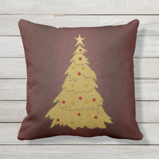 Faux Gold & Leather Christmas Tree Holiday Pillow