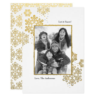Faux Gold Let it Snow! Photo Christmas Card