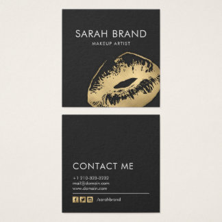 Faux Gold Lips Makeup Artist Beauty Salon Square Business Card