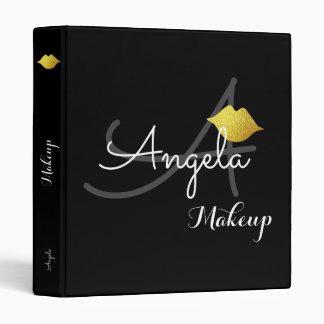 faux gold lips . makeup artist monogram beauty 3 ring binder