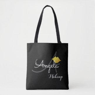 faux gold lips . makeup artist monogram beauty blk tote bag