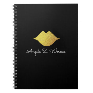 faux gold lips + name notebook