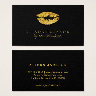 Faux gold lips on black lip color distributor business card