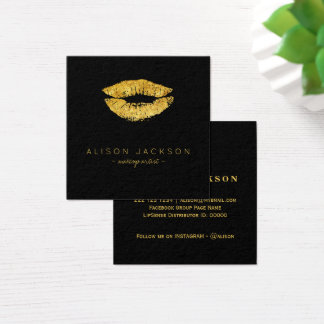 Faux gold lips on black makeup artist square business card