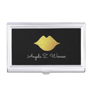 faux gold lips with her name . woman mouth . black business card holder