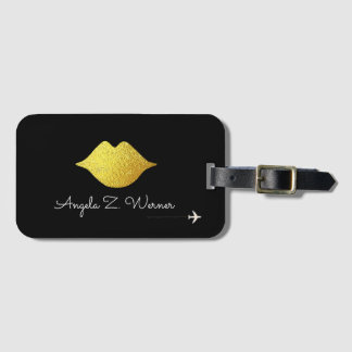 faux gold lips with her name / woman mouth / black luggage tag